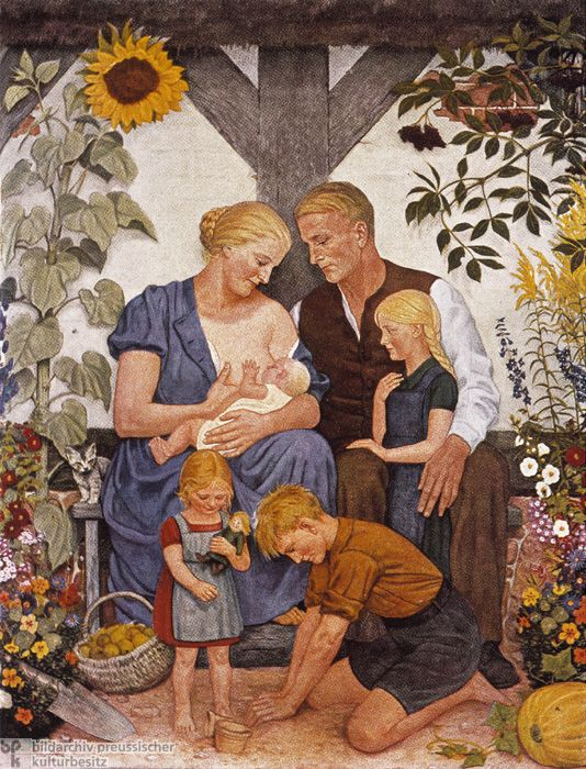 The Aryan Family is a print after a painting by Wolfgang Willrich